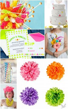 Neon Wedding Inspiration---I just like the candy Ideas. With our sweet tooth we would have to have this