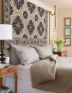If Your Bed Has No Headboard, You'll Love These 7 Fabulous Ideas On How To Turn The Wall Behind Your Bed Into The Star Of Your Bedroom: Hang A Rug