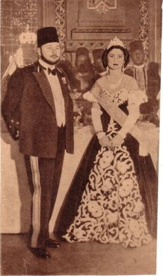 King Farouk and Queen Farida at king's 23rd birthday. Very nice picture for King Farouk and Queen Farida.
