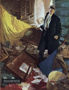 Tom Lovell's ANGRY MAN STANDING IN A RANSACKED ROOM.