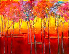 Had fun creating this, threw on paint, painted in the negative shapes...voila it's a forest of colorful trees!  Art is so much fun, you never know where your going, or what you'll turn up with!  Check out my art website @ www.melanienogawskiart.com