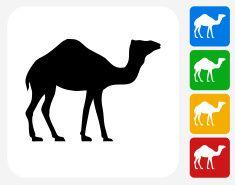 Camel Icon Flat Graphic Design vector art illustration