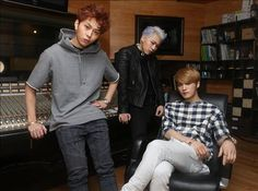 """#PRESSPICS #021714 #JYJ 's Kim #Jaejoong with #BlockB 's #Zico and #B2ST #BEAST Yong #JunHyung for an #interview... #OMO #Kpop #Koreanfever ::) ...The article title is """"Idol? Artist? Don't need a definition — Music Industry's Representative 'Composer-dols' Trio""""."""