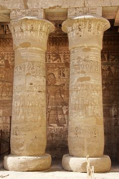 Temple columns on the river Nile, Luxor.