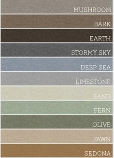 Earthy Colors ♥ paint colors for the new house