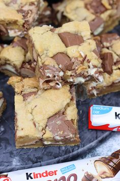 *This post may contain affiliate links. Please see my disclosure for more details!* Gooey, Delicious Kinder Bueno Cookie Bars packed full with Kinder Chocolate and. cookie recipes top 10 most popular Kinder Bueno Cookie Bars! Tray Bake Recipes, Easy Cake Recipes, Healthy Dessert Recipes, Brownie Recipes, Easy Desserts, Sweet Recipes, Baking Recipes, Cookie Recipes, Lunch Box Recipes