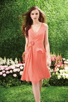Deep V Neck Knee Length Chiffon Pick Up Layered Skirt Embellished With Handmade Flower Online Sale