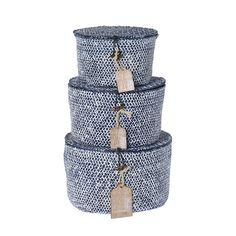 Aufbewahrungsbox Korb Körbe, Seegras, rund dunkelblau, 3er-Set