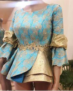 Trending Ankara styles for women African Wear Dresses, African Fashion Ankara, Latest African Fashion Dresses, African Attire, Ankara Styles For Women, African Lace Styles, Lace Skirt And Blouse, African Blouses, Dress Neck Designs