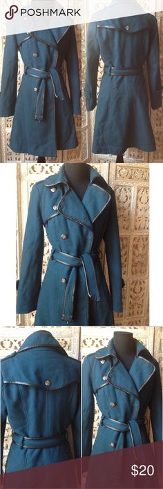 Guess coat size S in teal Guess coat size S in teal. Missing buttons on sleeves but they are not needed as sleeve decoration tabs are sewn in place. Otherwise very good condition Guess Jackets & Coats Pea Coats