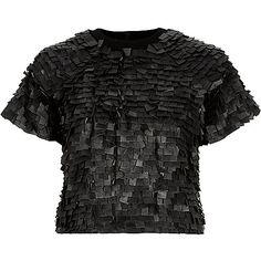 Dark grey Design Forum leather tab top £160 #ImWearingRI #RiverIsland