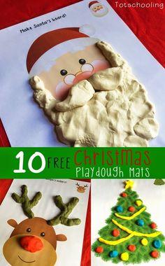 Free Christmas Playdough Mats from Totschooling
