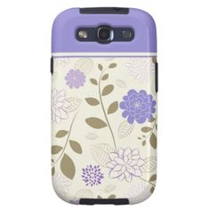 Girly Purple Ivory Tan Floral Samsung Galaxy S3