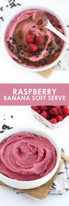 There's nothing better than a 5 minute dessert that is both #vegan and #paleo friendly. Make this Raspberry Banana Soft Serve with Chocolate Swirl for a guilt-free treat!