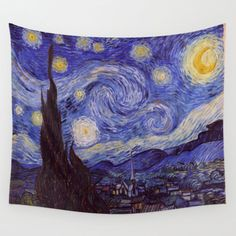 Vincent Van Gogh Starry Night Wall Tapestry by Art Gallery