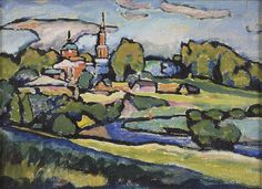 Wassily Kandinsky (Russian 1866-1944), Akhtyrka. Landscape with red church, 1917. Oil on cardboard, 21 x 28.7 cm. Musée national d'Art moderne - Centre Georges Pompidou, Paris.