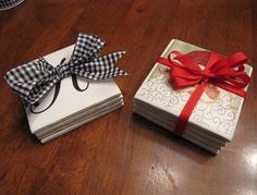 perfect Christmas gifts for school or Sunday school teachers, neighbors, co-workers, or anyone else on your list! You can make a large batch of these and cover most of your gift list!  Here is all you need:  4 x 4 white tiles (from Lowe's or Home Depot)  napkins with a cute picture  *mod podge  *cork board  *acrylic sealer  glue gun  *sponge brush