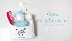 Haz una cesta para la ducha reciclando