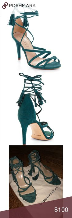 BCBG Emerald Green Lace Up Heels Flirty lace up heels with tassels, Size 6! Worn out once. BCBG Shoes Heels