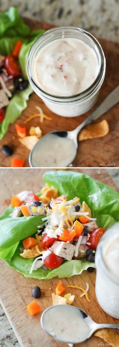 Southwest Chicken Lettuce Wraps | homemade amazing Chipotle Ranch dressing
