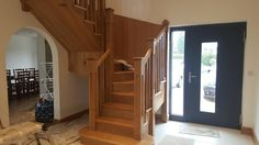 Oak Staircase with cut string spindles