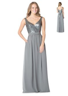 Bari Jay 1613 Sequin V-Neck Tank Bodice with gathered chiffon skirt 5f62ec94e