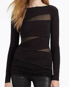 d50e337471b Splice mesh t shirt for women plain black long t shirts long sleeve Mesh T  Shirt