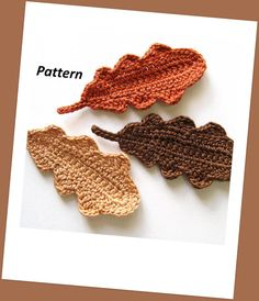 oak leaves pattern for sale from GoldenLucyCrafts who also sells several other crochet leaf patterns Crochet Leaf Patterns, Crochet Leaves, Crochet Motif, Irish Crochet, Crochet Flowers, Crochet Stitches, Knit Crochet, Crochet Appliques, Fall Patterns