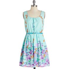 ModCloth Mid-length Sleeveless A-line Ring the Bell Flower Dress (65 CAD) ❤ liked on Polyvore