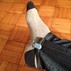 <3  use mitten clips on skinny jeans (above), but they're especially awesome for straight-leg pants (below), because you can neatly gather the extra fabric and clip it in place before you go about shoving it all inside a boot