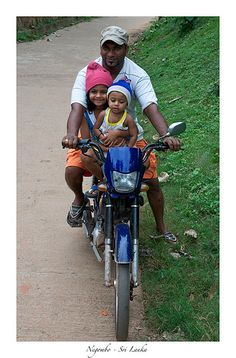 Three on a bike, Negombo, Sri Lanka Sri Lanka, Beautiful Beaches, Meditation, Bike, India, Culture, People, Motorbikes, Bicycles