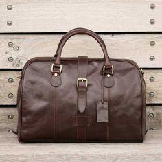Maxwell Scott's Dark Chocolate Farini Duffel Bag. Buy Here:http://us.maxwellscottbags.com/products/farini-italian-leather-holdall.html