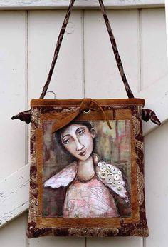 acrylic painting on handmade purse