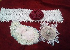 Haberdashery Lace Pearls Satin Rose by Ladydarinefinecrafts