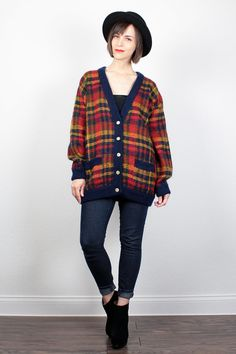 Vintage 80s Plaid Sweater Mustard Gold Red Navy Blue Plaid Oversized Cardigan Knit Jumper Preppy 1980s Mod Cosby Sweater L Extra Large XL by ShopTwitchVintage #vintage #etsy #80s #1980s #plaid #sweater #jumper #cardigan #oversized #knit