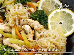 Shirataki Dukan con Pollo y Verduras, en Wok (recetas con Fideos de Konjac, fase Crucero)
