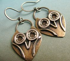 Little Owl Earrings - Bronze And Sterling Silver Artisan Metalsmith Jewelry -  Mixed Metal Owl Jewelry. $62.00, via Etsy.