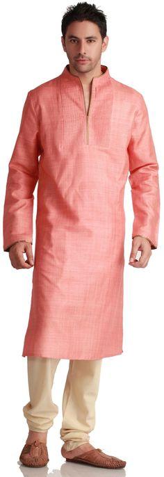 Pink Silk Kurta with Pleated Front Moslem Fashion, Arab Fashion, Mens Fashion, Pathani Kurta Men, Mens Kurta Designs, Kurta Design For Men, Marriage Suits, Wedding Kurta For Men, Kurtha Designs