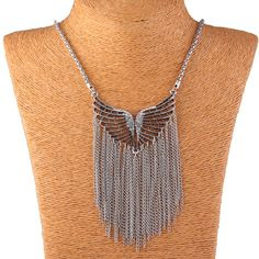 Fashion Alloy Hollow Out Angel Wing Shape Tassel Vintage Women Jewelry Necklace