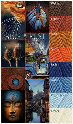 Blue and rust colour palette Yarn Color Combinations, Color Schemes Colour Palettes, Colour Pallette, Color Palate, Rust Color Schemes, Orange Color Palettes, Color Tones, Blue Tones, Yarn Colors