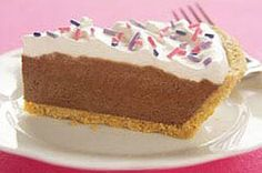 5 Minute Double Layer Pie Recipe/ use 2 cups cold milk/ three packages serve size) instant chocolate pudding Chocolate Pie With Pudding, Chocolate Pies, Chocolate Flavors, Chocolate Cream, Kraft Recipes, Pie Recipes, Dessert Recipes, No Bake Desserts, Desert Recipes