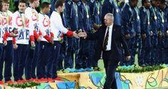 RIO DE JANEIRO, BRAZIL - AUGUST 11:  World Rugby Chairman, Bill Beaumont shakes…
