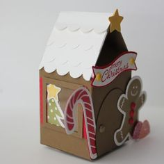 So Cute!!! Gingerbread House from Stampin' Up! Heather Summers 2012 Artisan winner.  Uses  Milk Carton die from 2012 Idea Book and Catalog and Scentsational Season Stamps and Framelits from the Holiday Catalog (which are still available).