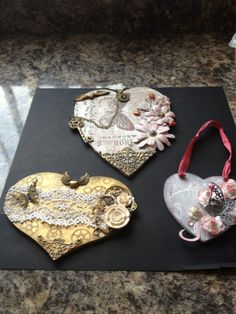 mdf hearts, we will learn techniques to recreate these on 1 st feb, see www.crafting4causes.co.uk for more info.