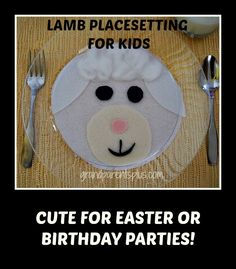 I'm always trying to make kid's placesettings on holidays extra special. This Lamb Placesetting for Kids is one that can be used at Easter or perhaps a shower or birthday party with a lamb theme.