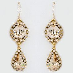 Haute Bride Earrings. Boho chic crystal drop bridal earrings with vintage flair. Champagne crystals. Perfect with lace as well as black for nights out.