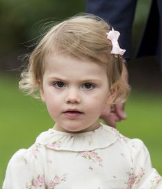 PRINCESS ESTELLE OF SWEDEN ~ celebrating the 37th birthday of her mother, Crown Princess Victoria. Estelle is recycling! Wearing an adorable summer dress once worn by her aunt, Princess Madeleine.