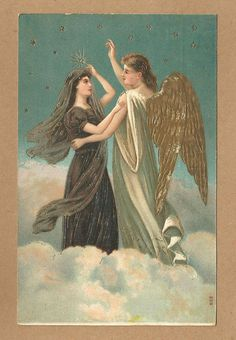 SOLD OUT - Vintage Gold Embossed Religious Postcard, Two angels dance with the stars #Religious