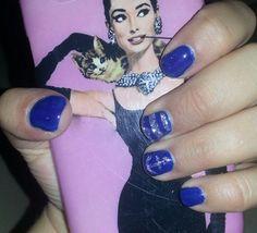 Blue silver glitter nail art