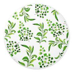 Nature Green Watercolor Leaf Modern Pattern Ceramic Knob - beautiful gift idea present diy cyo